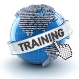 Training symbol with digital globe, 3d render Royalty Free Stock Photography