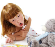 Training of a teddy bear Stock Photos