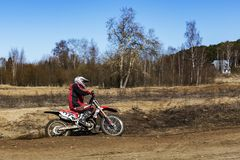 Russia, Moscow, April 14, 2018, training teenager riding motorcycles, editorial royalty free stock photo