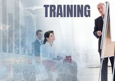 Training text and Business economics teacher with class. Digital composite of Training text and Business economics teacher with class royalty free stock image