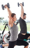 Training together at fitness class Royalty Free Stock Image