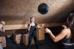 Training together at gym banner panoramic crop. Two fit people throwing medicine ball stock photo
