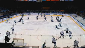 Training of two hockey teams stock footage