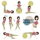 Training voor zwangere reeks Yoga opleiding voor gezonde zwangerschap vector/illustratie Stock Fotografie