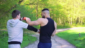 Training a Wing Chun between master and follower on green nature. 4k.  stock video footage