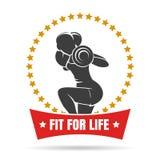 Training woman fitness center emblem stock illustration