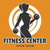 Training Woman Fitness Center Emblem vector illustration