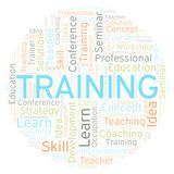 Training word cloud. Wordcloud made with text only royalty free illustration
