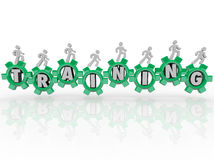 Training Word People Gears Learning Skills Education. Training word in green gears people marching toward knowledge, education, skills and expertise to use in vector illustration