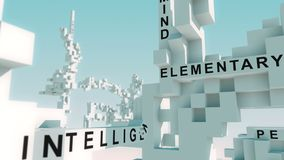 Training words animated with cubes. Transformative 3d cubes with all kinds of different terms stock footage