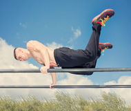 Training workout parallel bars Royalty Free Stock Photography