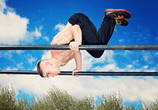 Training workout parallel bars Stock Images