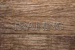 Training written on wooden background Royalty Free Stock Image