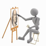 Training young artist. Young artist puppet man sitting on a chair and training chalk on easel copying portrait president with bank note. render 3D illustration royalty free illustration