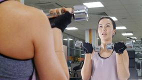 Training. A young motivated woman pumps her hand muscles with a dumbbells while looking in the mirror stock photos
