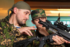 Training young soldier in dash Stock Photos