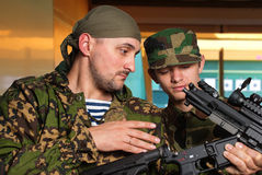Training young soldier in dash Royalty Free Stock Photos
