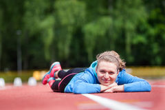After training. Young woman during brake of training Royalty Free Stock Images