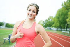 Training Young Woman Positive Happy Royalty Free Stock Photography