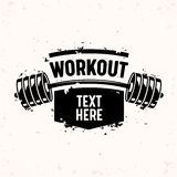 Trainingbanner met Barbell, het Creatieve Bodybuilding en Concept van de Geschiktheidsmotivatie Zwart-wit Zwart-witte Typografie stock illustratie