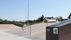 Trainings during the DVS BMX Series 2014 by Fuel TV. FELGUEIRAS, PORTUGAL - AUGUST 17, 2014: Trainings during the 1st Stage of the DVS BMX Series 2014 by Fuel TV stock video footage