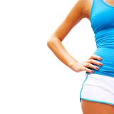 Trainings-Frau auf Weiß Lizenzfreie Stockbilder