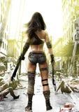 Trainings-Tag, Zombies, die auf einer völlig vorbereiteten apokalyptischen furchtlosen Frau des Beitrags mit einem ruinierten Sta Stockfoto
