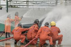 Trainings- und Praxisbrandverh?tungspl?ne, Fl?ssiggasspeicher, Aug 29, 2018 stockbild