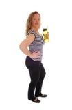 Trainingsfrau mit ihrer Wasserflasche Stockbilder