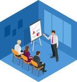 Trainingskonzept, Geschäftsmann Flache Designillustration für Geschäft, beraten, Finanzierung, Management, Karrieresitzung Lizenzfreie Stockfotos