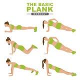 Trainingsplanken Eine junge Frau tut eine Planke Eignung, aktiver Lebensstil Getrennt auf einem wei?en Hintergrund lizenzfreie stockbilder