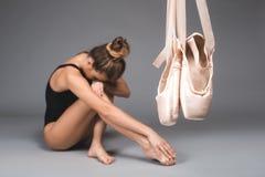 Trainingssatinschuhe der Ballerina Lizenzfreie Stockbilder