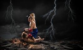 Trainning бойцов коробки внешний Мультимедиа Мультимедиа Стоковое Изображение