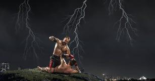 Trainning бойцов коробки внешний Мультимедиа Стоковое Изображение RF