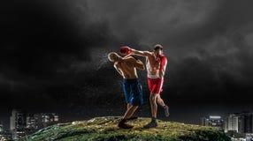 Trainning бойцов коробки внешний Мультимедиа Стоковое Изображение
