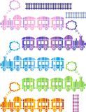 Trains. Set of cute colorful trains on white background Royalty Free Stock Photography