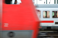 Trains. Two trains in blurry style stock image