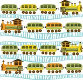 Trains. Pattern vith rails and trains Royalty Free Stock Image