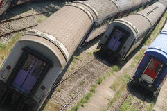 Trains. Train station with several  trains standing next to each other Royalty Free Stock Photos