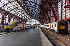 Trains at the Antwerp Main Railway Station. ANTWERP, BELGIUM - AUG 23: Regional trains at the Main Railway Station in the city of Antwerp. August 23, 2015 in Stock Image