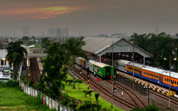 Trains in Bandung railway station Royalty Free Stock Photos