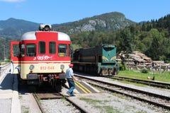 Trains Bohinjska Bistrica railway station Slovenia Stock Photos