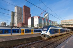 Trains at the central station of The Hague, The Neterlands Royalty Free Stock Photos