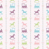 Trains and colorful baby rocking horse pattern Stock Image