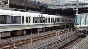 The trains coming the station in Nagoya, Japan stock video