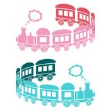 Trains. Couple of pink and blue trains on a white background - curl shaped Royalty Free Stock Photography
