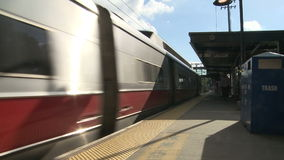 Trains crossing paths stock video footage
