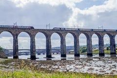 Trains crossing the Royal Border Bridge Royalty Free Stock Photography