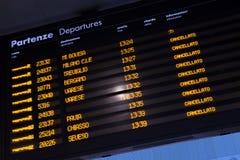 Trains décommandés par expositions d'horaire pendant la grève Images libres de droits