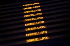 Trains décommandés par expositions d'horaire pendant la grève Photos libres de droits